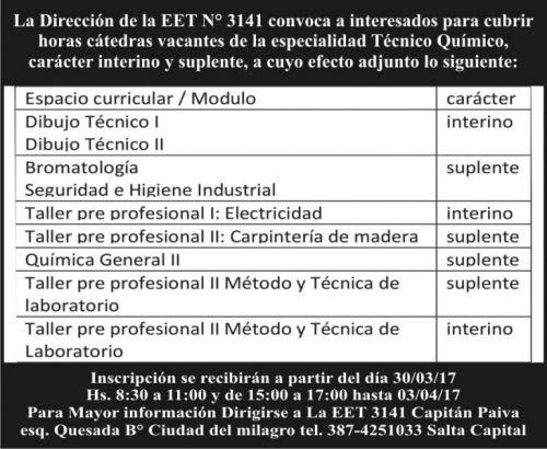 Edictos / Comunicados: ESCUELA  DE EDUCACION TECNICA N°3141