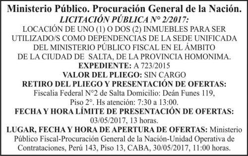 Licitación: LICITACION PUBLICA  Nº 2/2017 Ministerio Público
