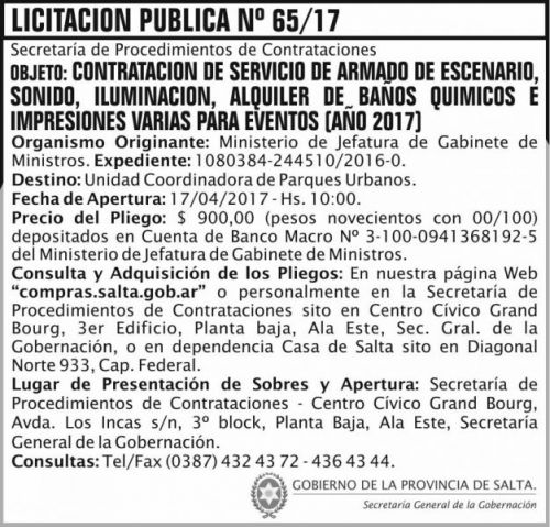 Licitación: Licitacion Publica 65/17