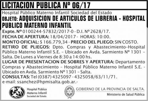 Licitación: Licitacion Publica 06 MSP HPMI