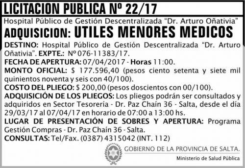 Licitación: Licitación Pública 22 MSP Oñativia