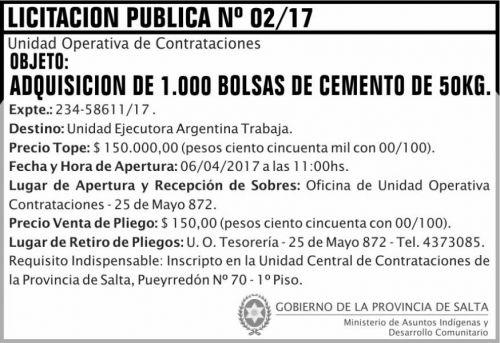 Licitación: Licitación Publica 02/17 MAIDC
