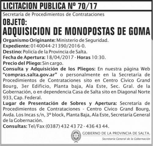 Licitación: Licitacion Publica 70/17 SGG MS