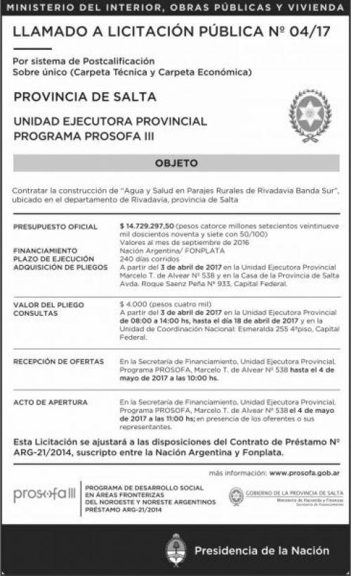 Licitación: LLAMADO A Licitacion Publica Nº 4/17 PROSOFA III MHF