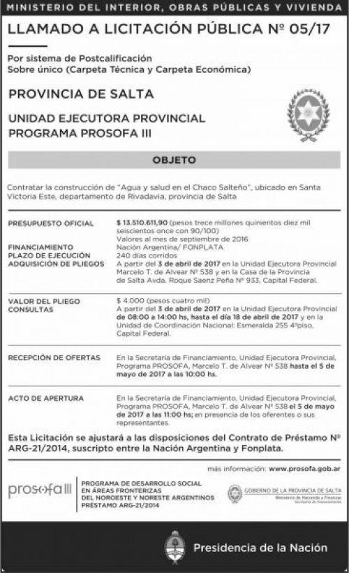 Licitación: LLAMADO A Licitacion Publica Nº 5/17 PROSOFA III MHF