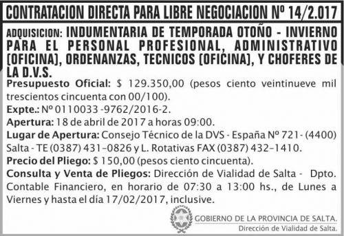 Licitación: Contratacion directa Libre Negociacion 14/17 DVS