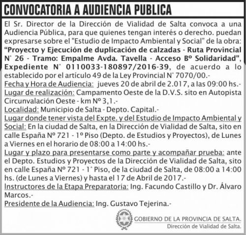 Edictos / Comunicados: Convocatoria Audiencia Publica DVS