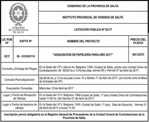 Licitación: Licitacion Publica 02/17 IPV