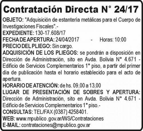 Compra Directa: Contratación Directa N° 24-17