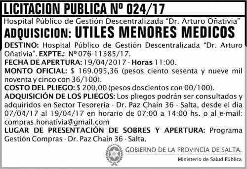 Licitación: Licitación Pública 24/17 MSP Oñativia