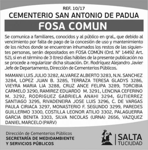 Edictos / Comunicados: Cementerio Fosa Común