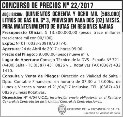Licitación: Concurso de Precios Nº 22/17 - DVS