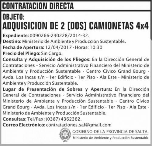 Compra Directa: Contratacion Directa CAMIONETAS MAPS