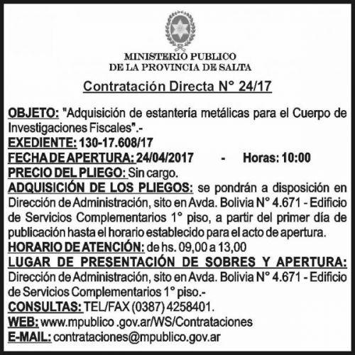 Compra Directa: CONTRATACION DIRECTA Nº 24-17 - MINISTERIO PÚBLICO SALTA