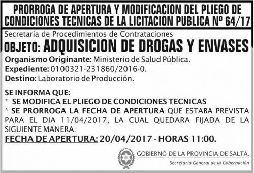 Licitación: PRORROGA Licitacion Publica 64/17 SGG MSP