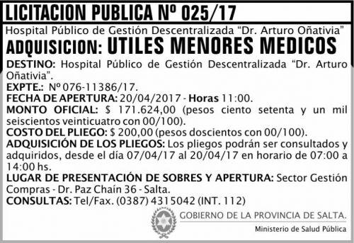 Licitación: Licitación Pública 25/17 MSP Oñativia