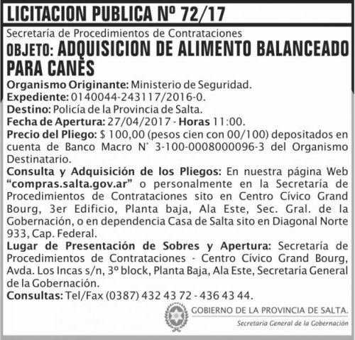 Licitación: Licitacion Publica 72/17 SGG MS