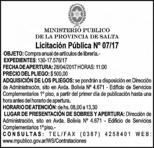 Licitación: Licitación Pública 07/17 MINISTERIO PÚBLICO SALTA