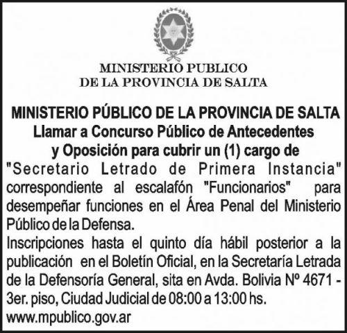 Concurso de Precios: CONCURSO PÚBLICO - MINISTERIO PÚBLICO SALTA