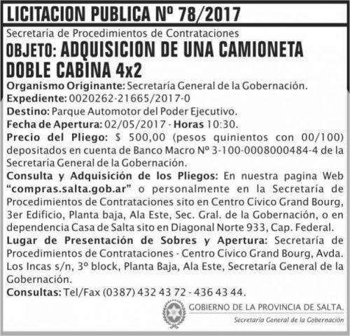 Licitación: Licitacion Publica 78/2017 SGG SGG