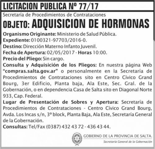 Licitación: Licitacion Publica 77/17 SGG MSP