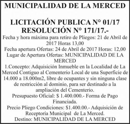 Licitación: Licitación Pública 01/17 MUNICIPALIDAD DE LA MERCED