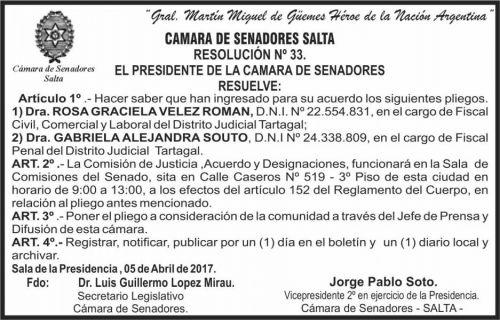 Edictos / Comunicados: CAMARA DE SENADORES
