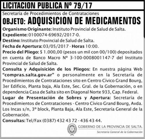 Licitación: Licitacion Publica 79/17 SGG IPS