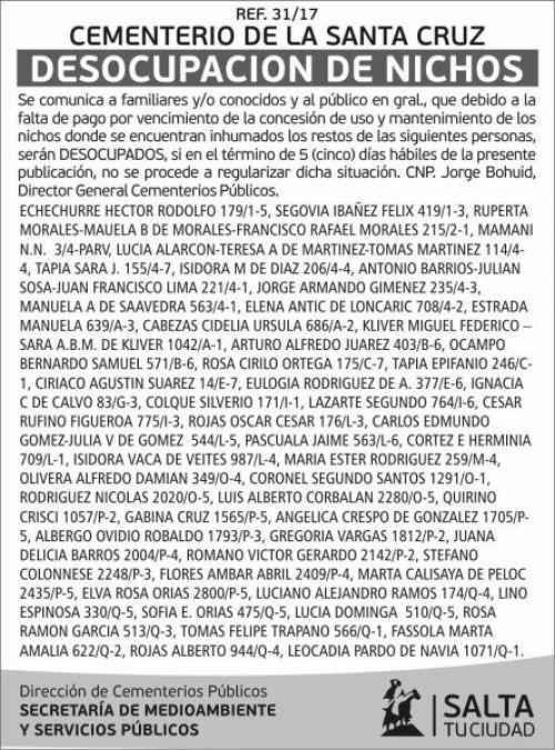 Edictos / Comunicados: Cementerio de la Santa Cruz - Desocupación de Nichos