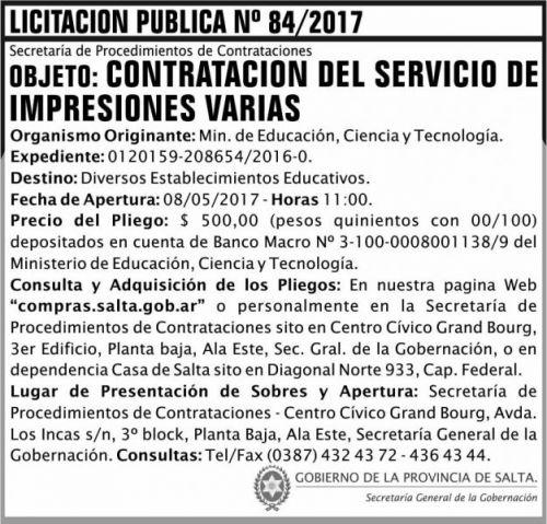 Licitación: Licitacion Publica 84/2017 SGG MECT