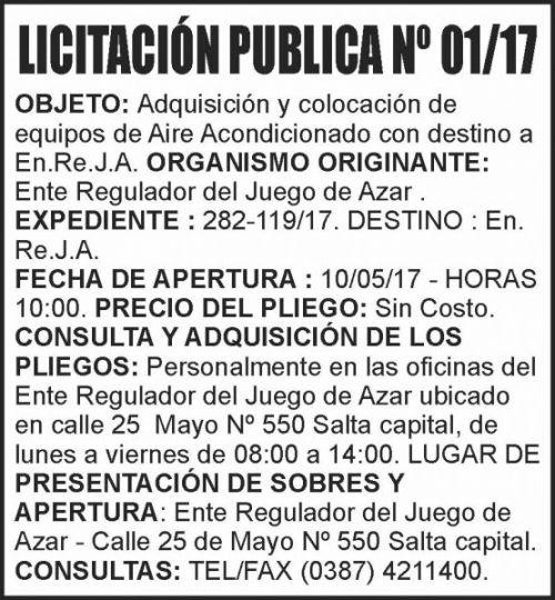 Licitación: LICITACIÓN PUBLICA Nº 01-17 ENREJA