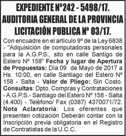Licitación: LICITACIÓN PUBLICA Nº 03/17 -  AUDITORIA GENERAL DE LA PROVINCIA