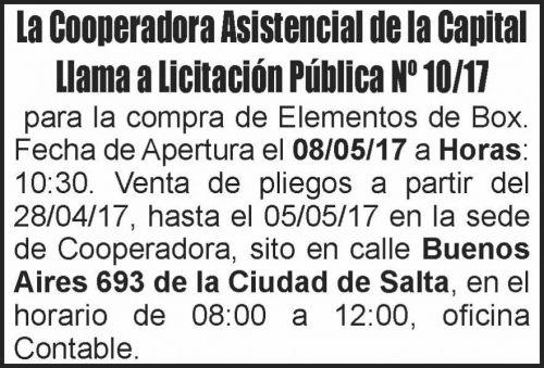 Licitación: LICITACIÓN PÚBLICA 10/17 Cooperadora Asistencial de la Capital