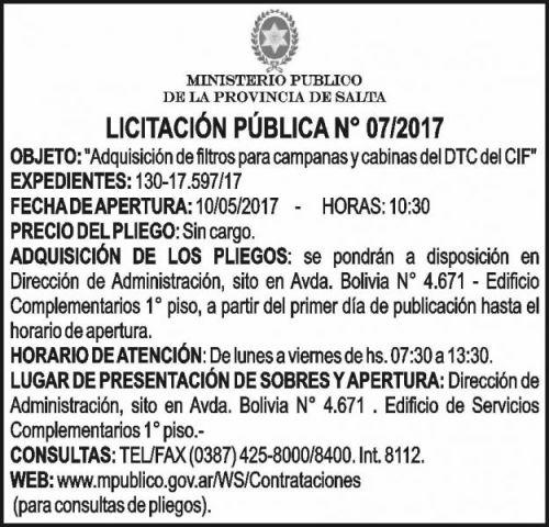 Licitación: Licitación Pública 07/2017 MINISTERIO