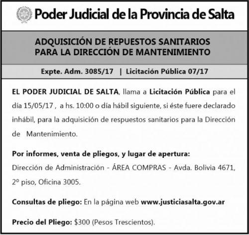 Licitación: EXPTE ADMN 3085-17 LIC PUBLICA 07/17 PODER JUDICIAL SALTA