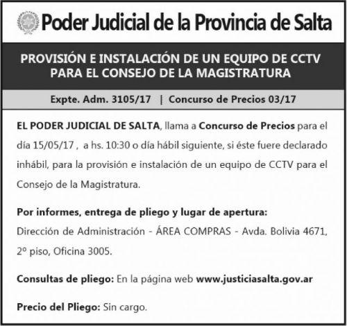 Concurso de Precios: Expte Adm 3105-17 Equipo CCTV CdM