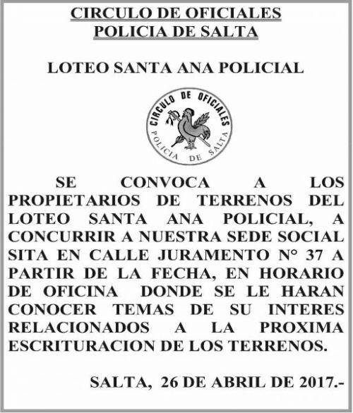 Edictos / Comunicados: CIRCULO DE OFICIALES POLICIA DE SALTA - LOTEO SANTA ANA POLICIAL