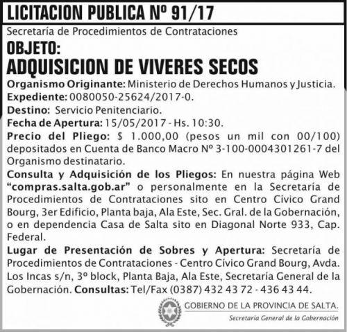 Licitación: Licitacion Publica 91/17 SGG MDHJ