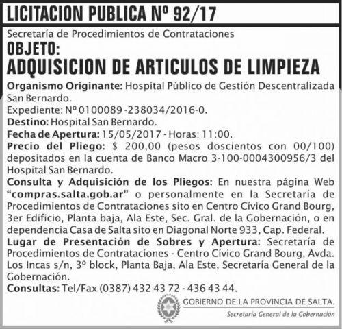 Licitación: Licitacion Publica 92/17 SGG SB