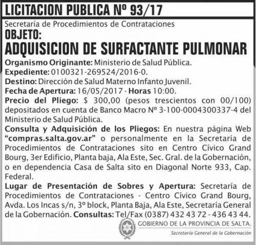 Licitación: Licitacion Publica 93 SGG MSP