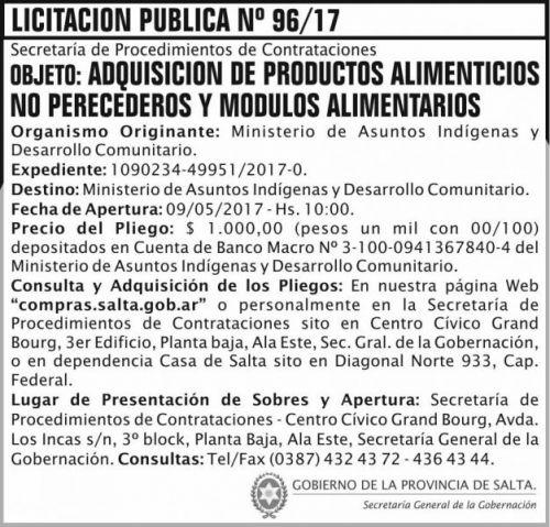 Licitación: Licitacion Publica 96/17 SGG MAIDC