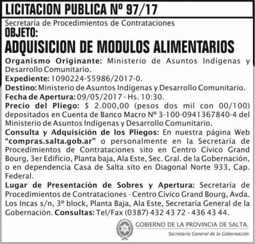 Licitación: Licitacion Publica 97 SGG MAIDC