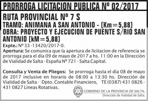 Licitación: Prórroga Licitacion Publica 02/2017 DVS