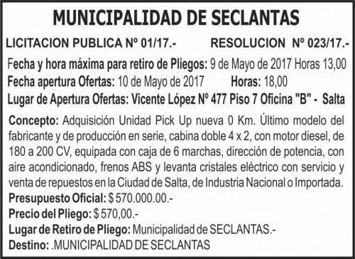 Licitación: LICITACIÓN PÚBLICA 01/17 MUNICIPALIDAD DE SECLANTAS