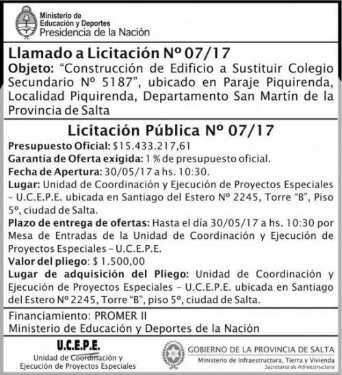 Licitación: Licitacion Publica 07/17 MEDN Ucepe