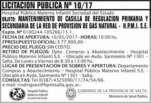 Licitación: Licitacion Publica 10/17 MSP HPMI