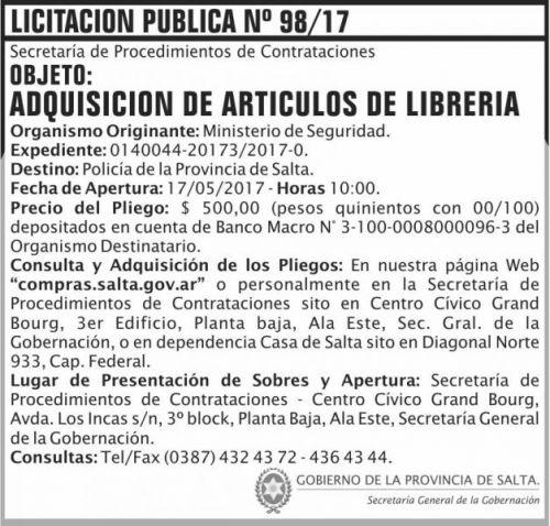 Licitación: Licitacion Publica 98/17 SGG MS