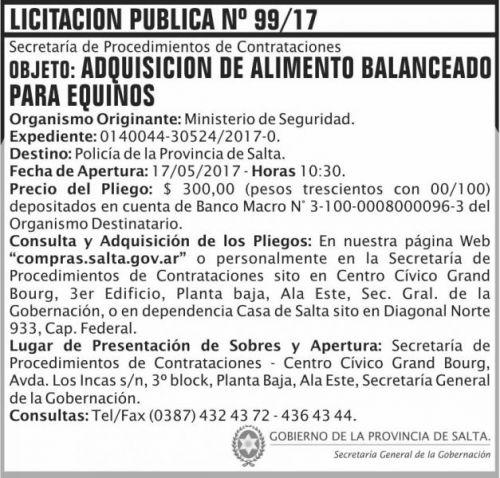 Licitación: Licitacion Publica 99/17 SGG MS