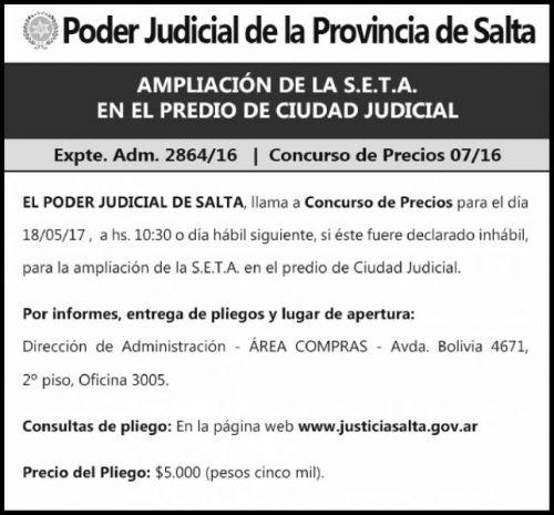 Concurso de Precios: Ampliacion S.E.T.A. Expte 2864-16 Precio 07-16 - PODER JUDICIAL SALTA