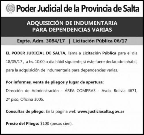 Licitación: Expte Adm 3084-17 Licitación Publica 06-17 - PODER JUDICIAL SALTA